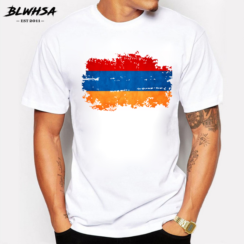 BLWHSA Armenia Flag Men   T     shirt   Summer Fashion Short Sleeve Cotton Brand Design Nostalgia   T  -  shirts   Funny Armenia Fans Cheer Tees