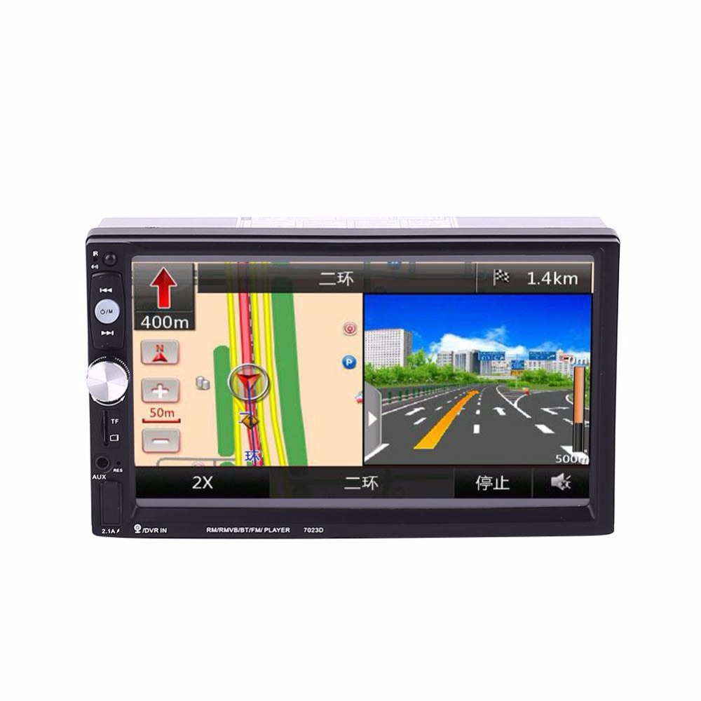 2 Double DIN 7 Inch Car Stereo Aux MP5 7023D Support With GPS FM Bluetooth Radio DC 12V Car Bluetooth player 8001 car mp5 player 7 inch 2 double din navigation bluetooth radio tuner fm with aux usb sd slot remote control rear view camera