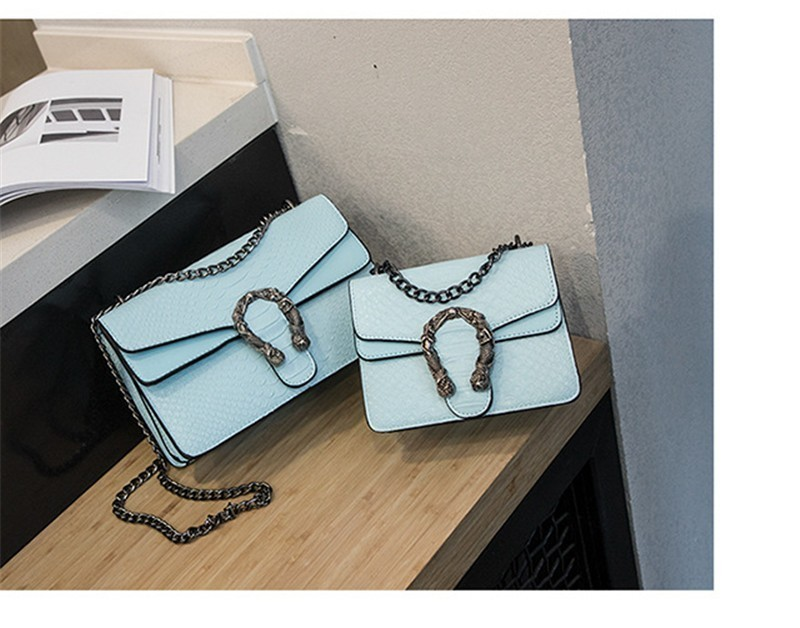 Luxury Handbags Women Bags Designer 2018 Alligator PU Leather Version Of Black Blue Gray Clutches Chains Ladies Crossbody Bags 19