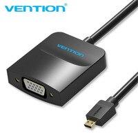 Vention מיקרו HDMI ל-vga כבל אודיו זכר לנקבה VGA להסתגל ג 'ק & כבל מיקרו USB HDMI ממיר עבור XBOX PS4er עם 3.5 מ