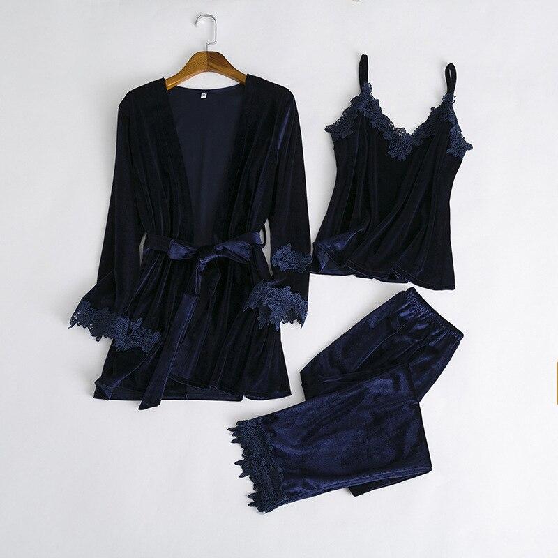 Fiklyc brand women's winter / autumn pleuche sexy pajamas sets three-pieces female hollow out nightwear NEW design nighties HOT 1