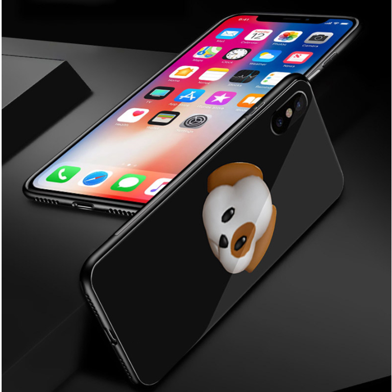 Oppselve Case For iPhone X 10 Screen Protector Tempered Glass Luxury Glossy Cartoon Back Cover For iPhone X Capinhas Phone Pouch