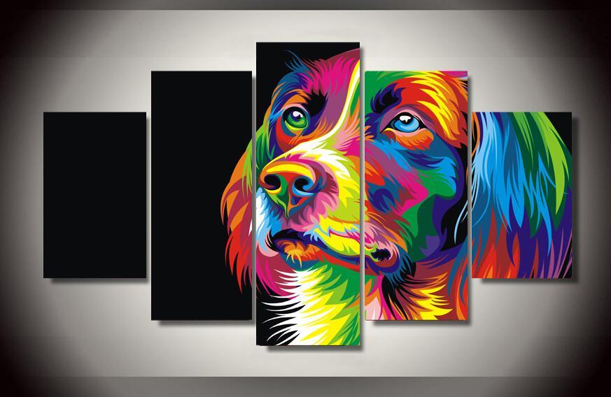8291883c9bf2 Φ ΦHD Imprimé Coloré chien Peinture Impression Sur Toile chambre ...