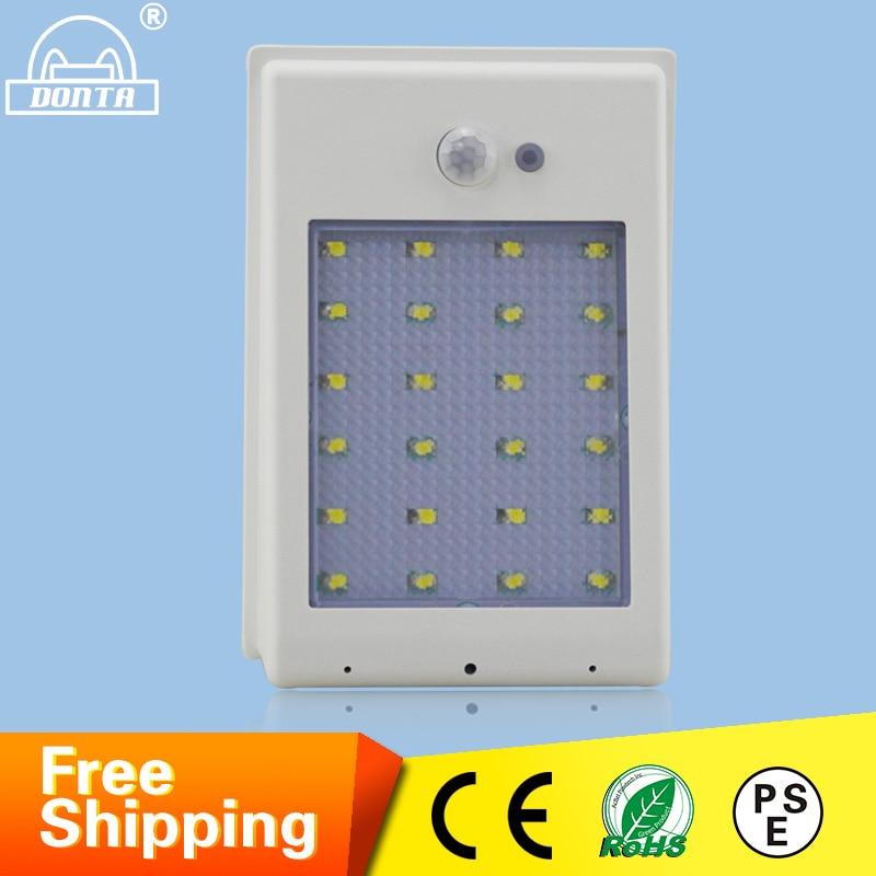 ФОТО 3W LED Solar Wall Lamp Outdoor Waterproof Solar Lamp Motion Sensor for Garden Path Emergency Corner Sorlar LED Wall Lamp