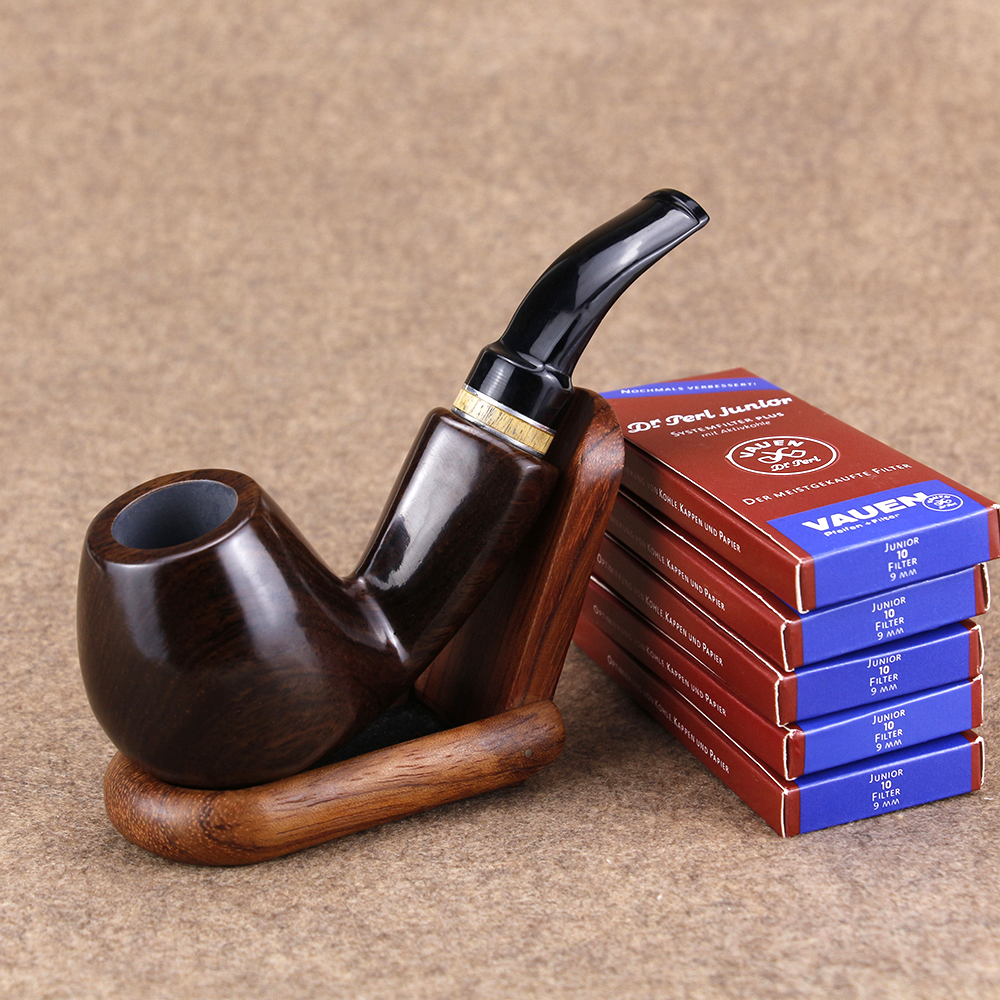 Classic Ebony Wood Pipe Set 50 Pcs 9mm Filter Wood Stand Handmade Tobacco Pipe Men Smoking Pipe Smoke Accessory