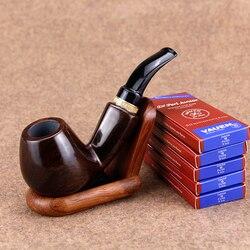 Klasyczne heban drewna rury zestaw 50 sztuk 9mm filtr stojak na drewno ręcznie tytoniu rury mężczyźni rury palenia dym akcesoria