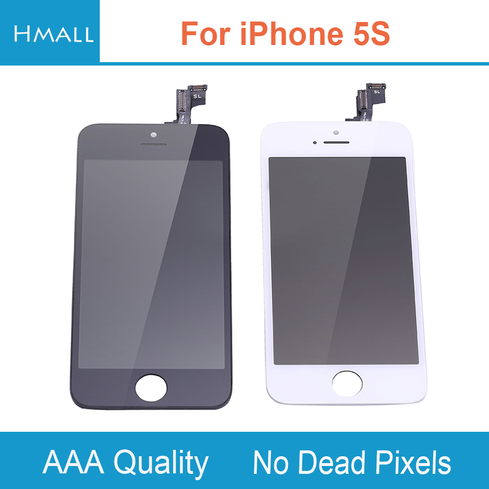imágenes para Para el iphone 5S Pantalla LCD con Pantalla Táctil Digitalizador Asamblea Reemplazo para iPhone5S Blanco/Negro Sin Pixeles Muertos Grado AAA