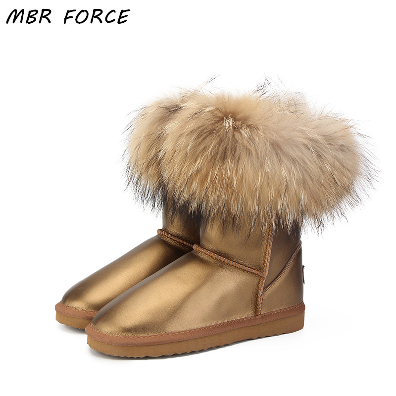 MBR FORCE Women 100% natural real fox fur snow boots fashion UG boots women of high quality genuine leather Waterproof Boots
