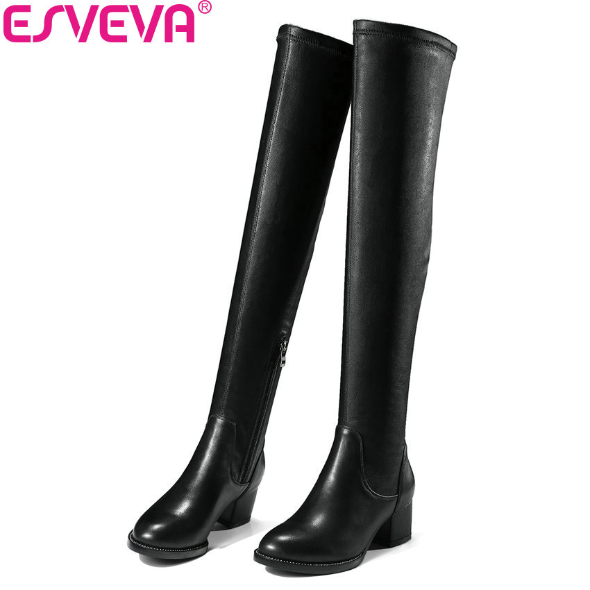 ESVEVA 2018 Women Boots Out Door Over The Knee Boots Genuine Leather+PU Ladies Warm Fur Square High Heels Lady Boots Size 34-39 esveva 2018 winter women boots over knee high boots real leather scrub boots square heels short plush ladies boots size 34 39