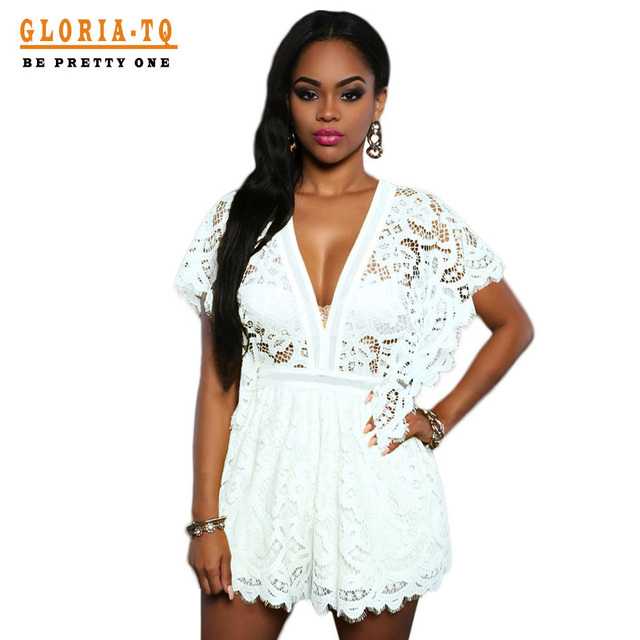 Casual Sexy Macacão Branco Para As Mulheres Playsuit Floral Lace Rompers Womens Jumpsuit Com Mangas Curtas Combinaison Curto Femme
