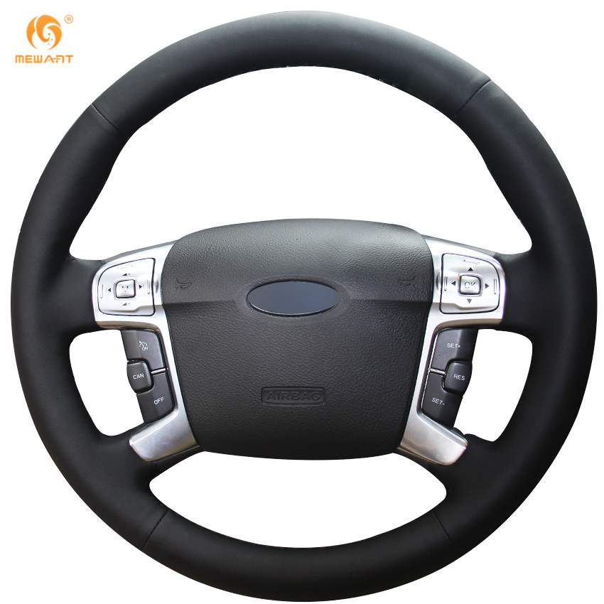 MEWANT Black Genuine Leather Car Steering Wheel Cover for Ford Mondeo Mk4 2007-2012 S-Max 2008 car rear trunk security shield cargo cover for ford s max smax 2007 2015 high qualit black beige auto accessories