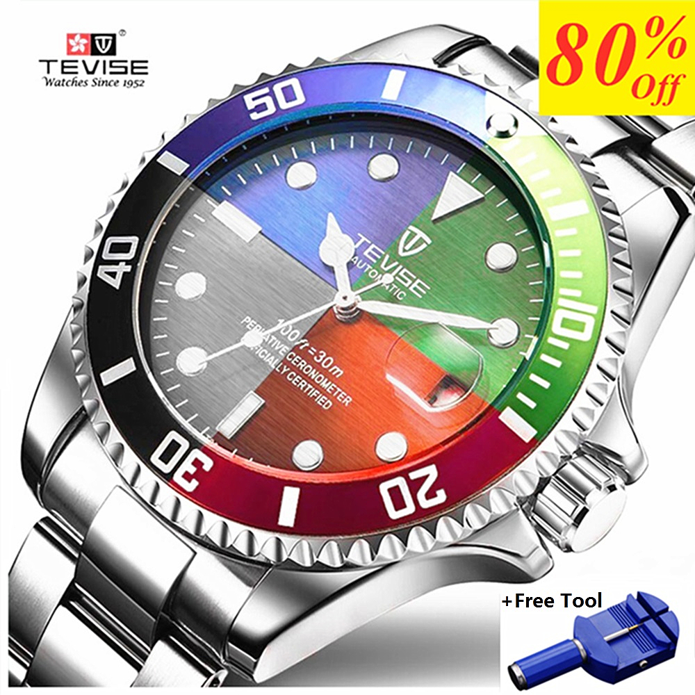 TEVISE Fashion Mens Watches Top Brand Luxury Casual Quartz Watch Men Stainless Steel Waterproof Sport Watch Relogio Masculino(China)