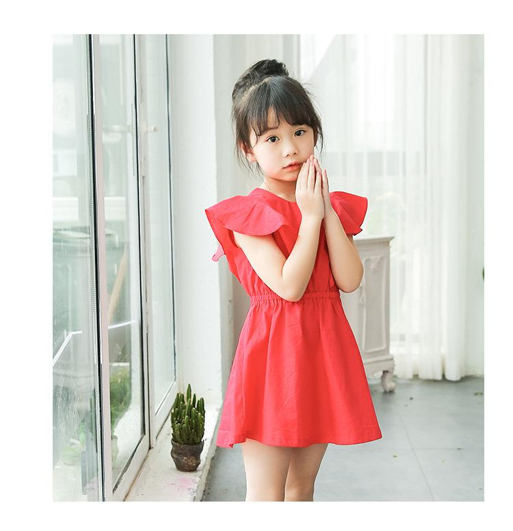2017 spring new casual cotton children's wear girl cute beach flying sleeve flounce Princess dress 2017 new spring