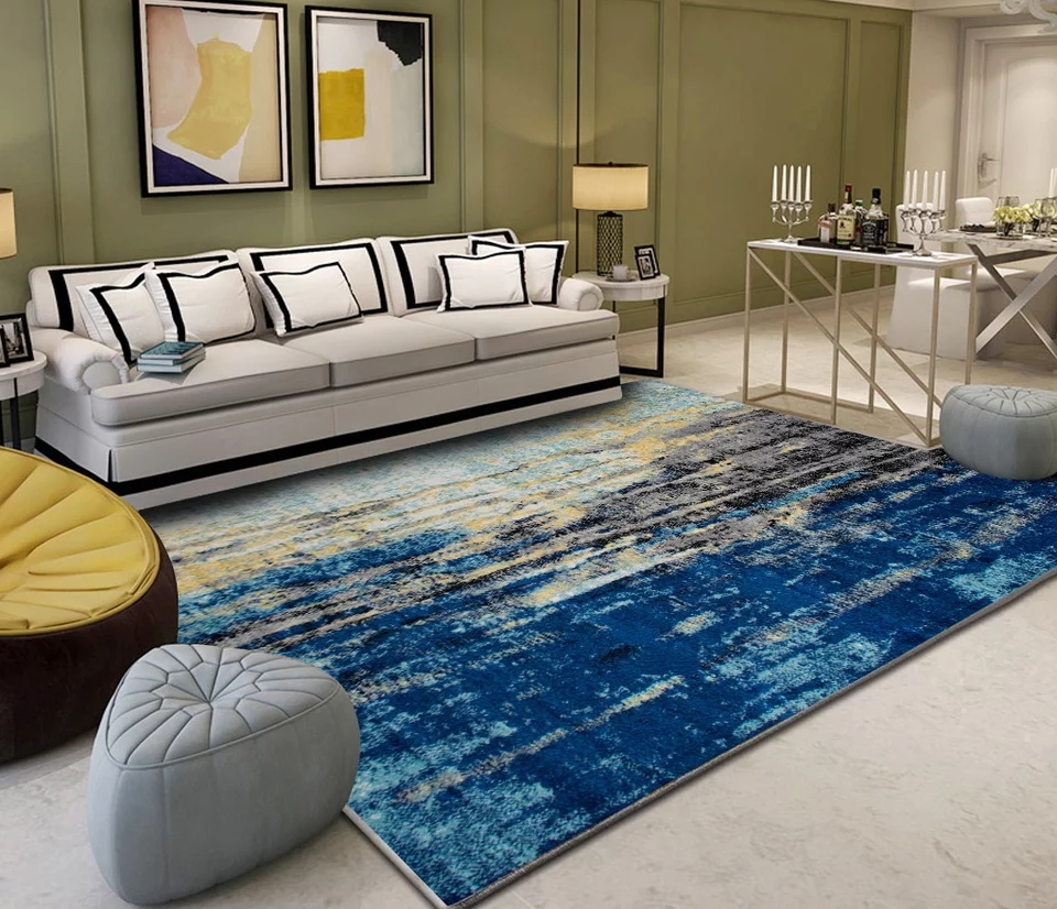 Moderne minimaliste art abstrait salon tapis table basse chambre pleine personnalisée rectangulaire grand tapis - 3