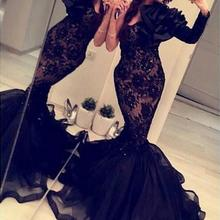 c3c03c2c300ed Arabic India 2018 Formal Mermaid Evening Gowns With One Long Sleeves Black  Lace Organza Crystals Backless