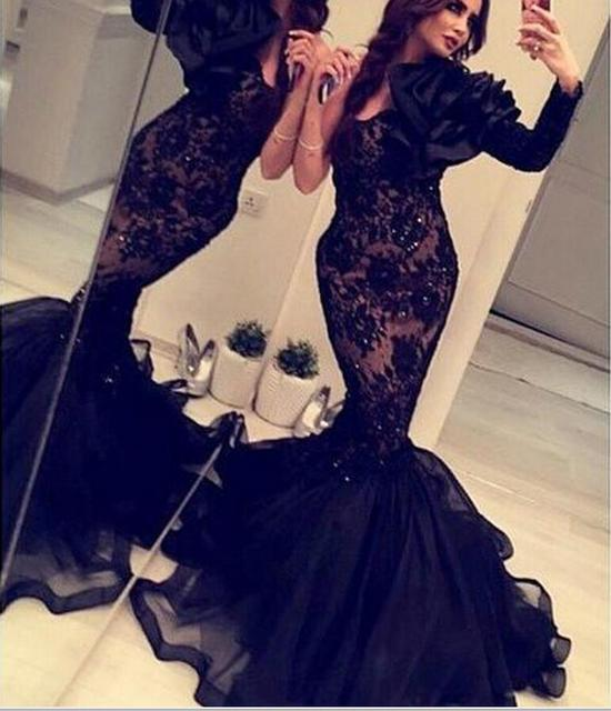 35c0a6622d Arabic India 2018 Formal Mermaid Evening Gowns With One Long Sleeves Black  Lace Organza Crystals Backless Evening Dress