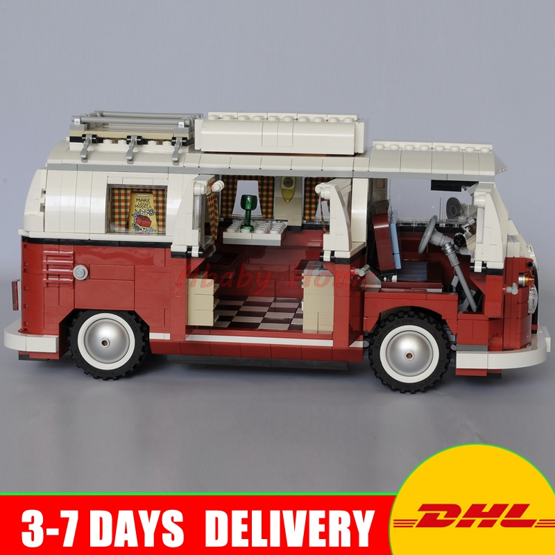 DHL Lepin 21001 Technic series the Volkswagen T1 Camper Van Model Assembling Building Blocks Compatible with Toy 10220 telecool led light building blocks toy only light set for creator series the t1 camper van model lepin 21001 and brand 10220