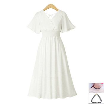 plus size dress white bandage elegant midi pink chiffon black office summer ruffle big vestiti donna v neck tallas grandes mujer 3