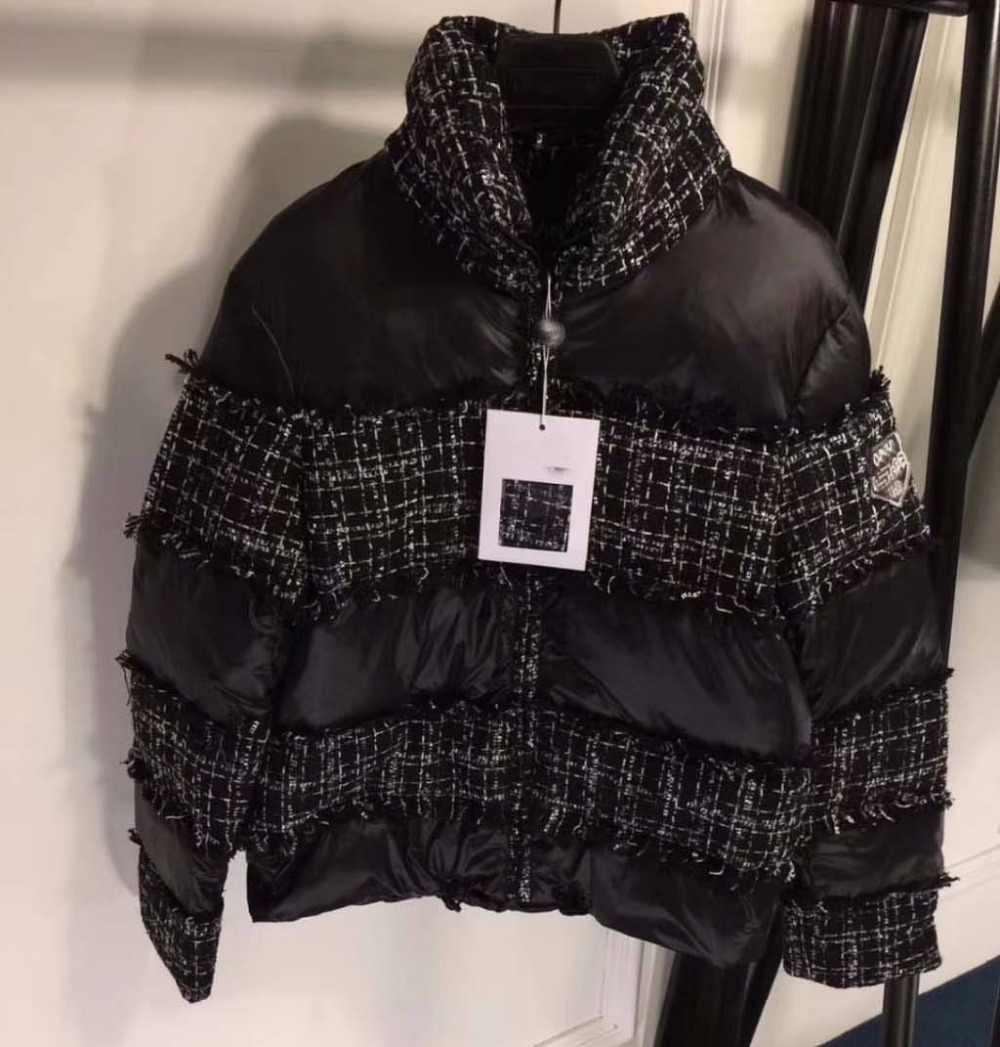 2018 ใหม่ผู้หญิงลงเสื้อ Vadim ฤดูใบไม้ร่วง-ฤดูหนาวแฟชั่น Tweed เย็บสีดำสั้น Super สรรเสริญ abrigos mujer