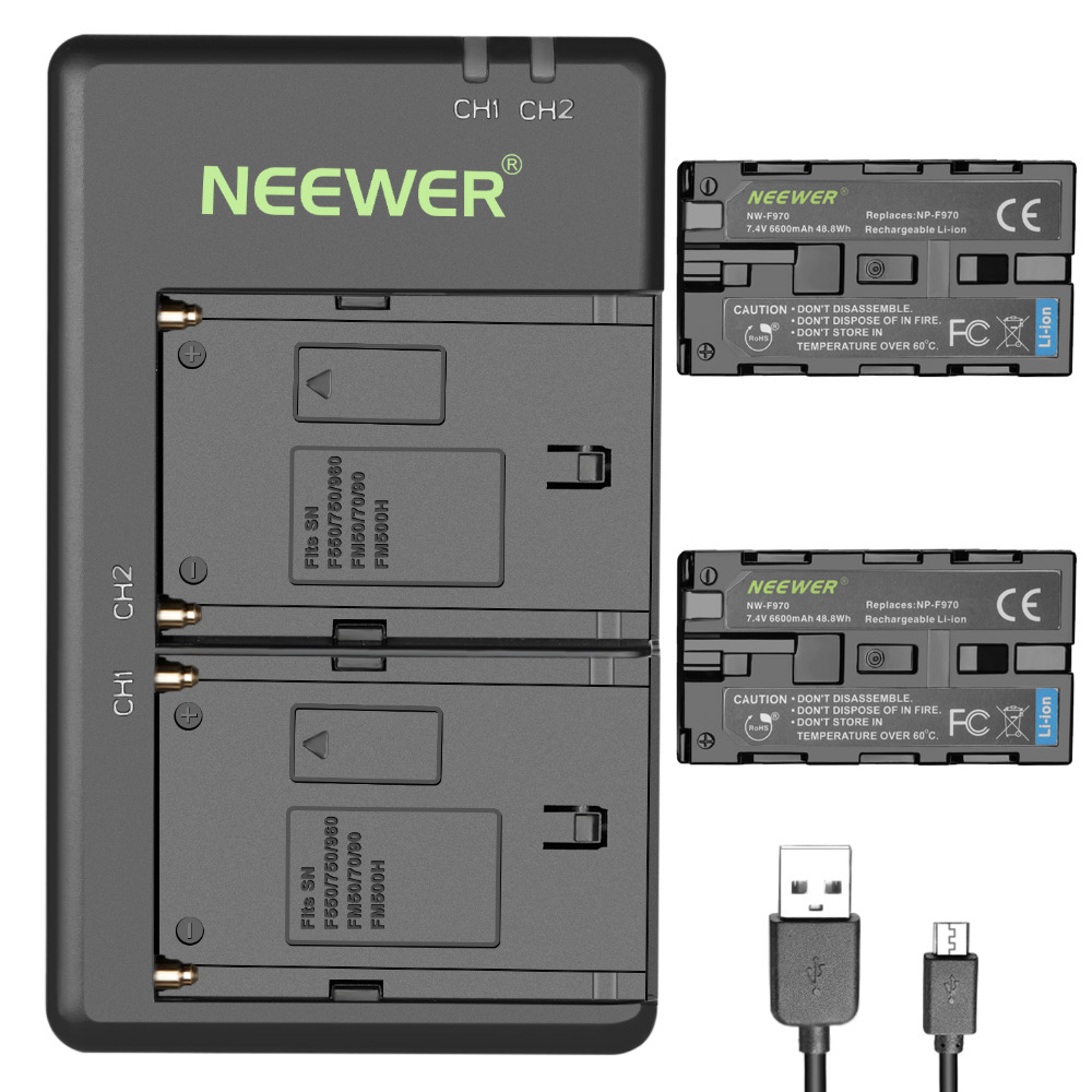 Neewer 2 Pack 6600mAh Li ion Replacement Battery with USB Charger for Sony NP F550 570 750 770 970 960 975 Sony Handycams|Chargers| |  - title=