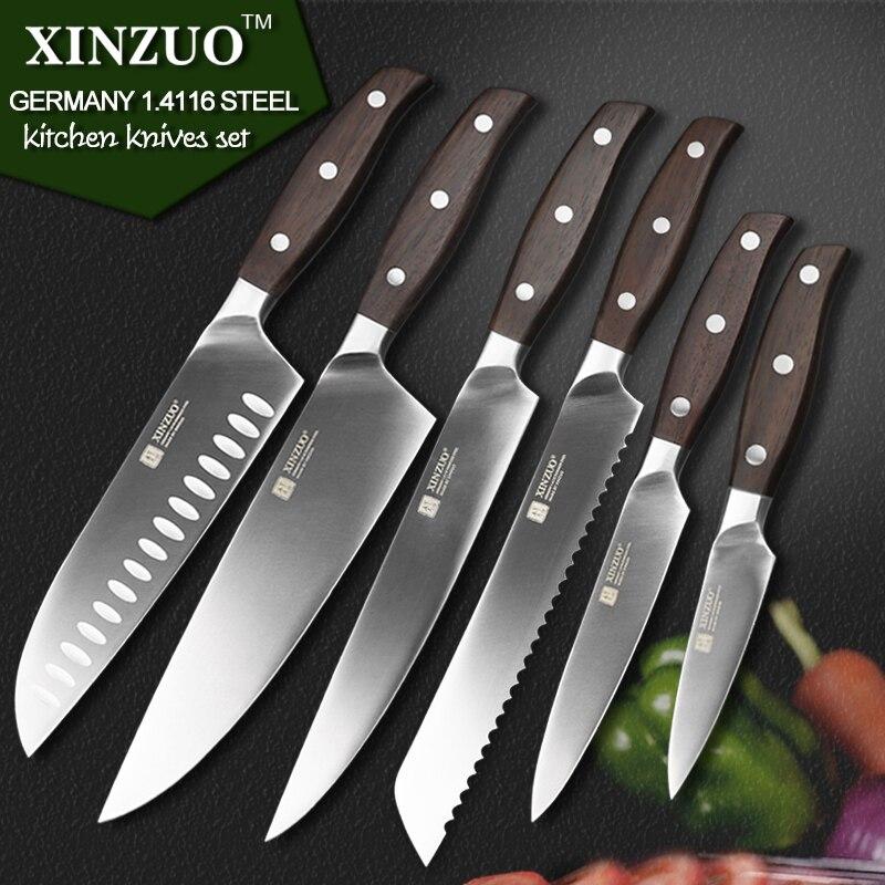 XINZUO kitchen tools 6 PCs kitchen font b knife b font set utility cleaver Chef bread