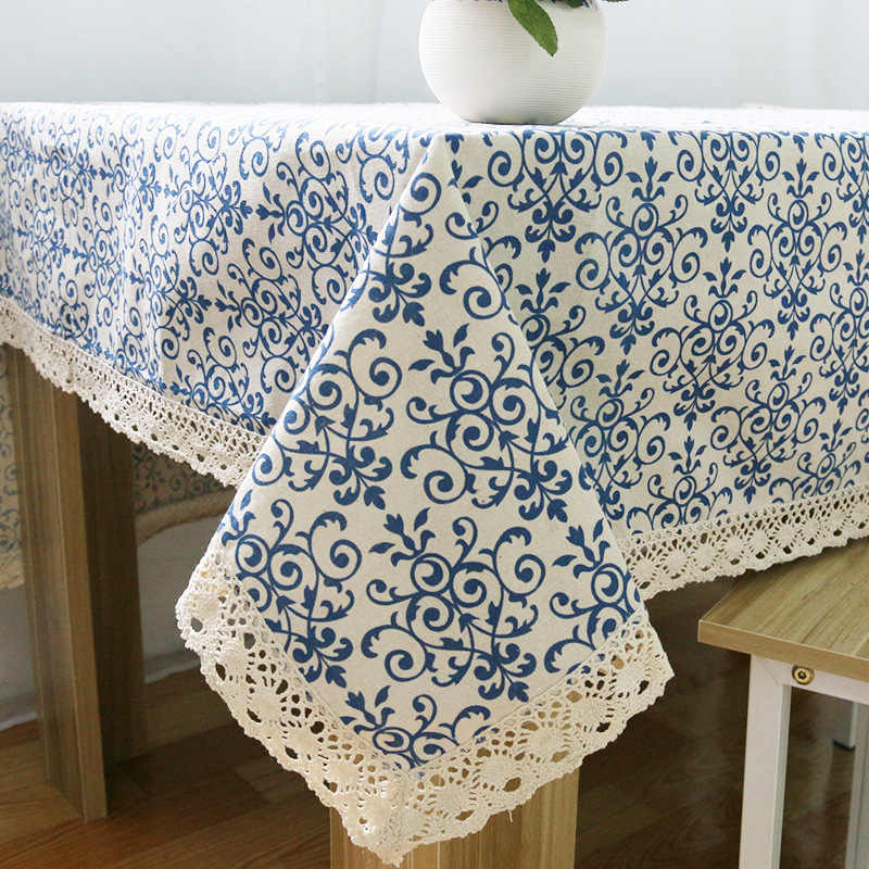 Retro Linen Cotton Tablecloth  Washable Coffee Dinner Blue and White Porcelain Table Cloth for Christmas Wedding Banquet