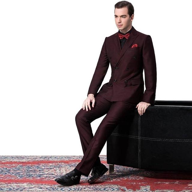 c389e15e8 Doble botonadura Borgoña vino rojo hombres trajes Slim Fit Formal 2 unidades  chaqueta del novio del