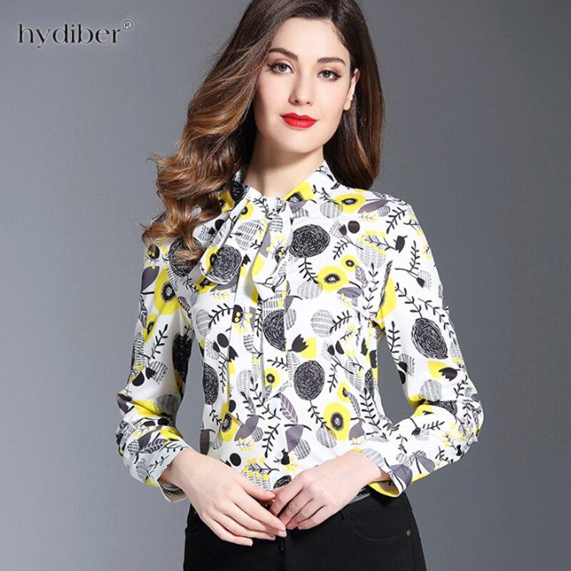 Femmes Blouses 2018 mousseline de soie imprimer à manches longues Blusas chemises de travail pour femmes Blouses élégantes grande taille femmes été hauts avec nœud