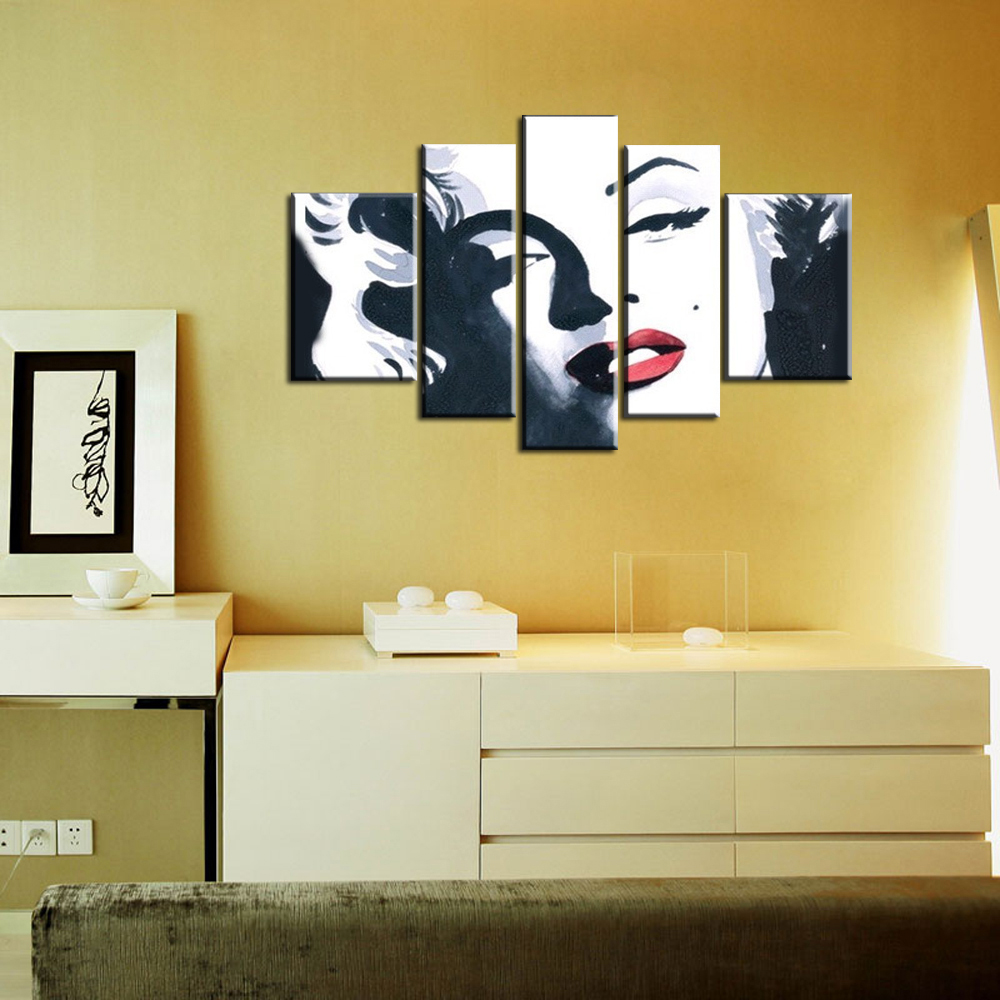 5 piece canvas wall art large Abstract modern handmade marilyn ...