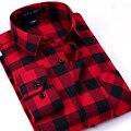 2016 Nuevos hombres de la Camisa de Franela A Cuadros Slim Fit Soft Cómodo Camisa Masculina Primavera Marca Negocio de Los Hombres Ocasionales Camisas de manga larga
