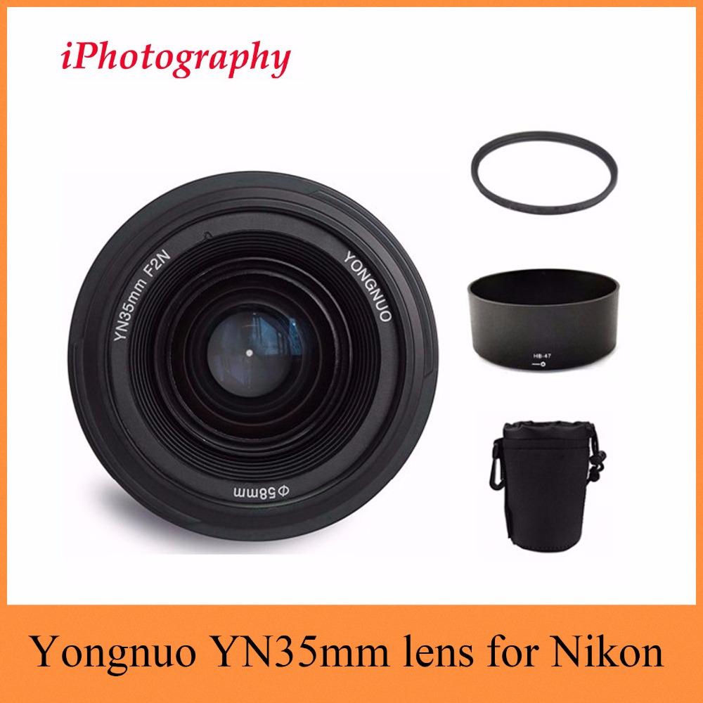 Yongnuo YN35mm F2N lens Wide-angle Large Aperture Fixed Auto Focus Lens+58mm UV filter +lens bag+Lens Hood For Nikon Two Choice fashion character hood filter cxw 218 f f range hood oil strainer 10 35