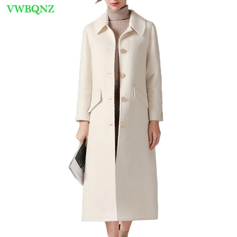 Haute qualité Double-face velours Manteau D'hiver Femmes Slim Longue Laine Veste Femme Vestes Manteaux Femmes Épaissir Survêtement XS a723