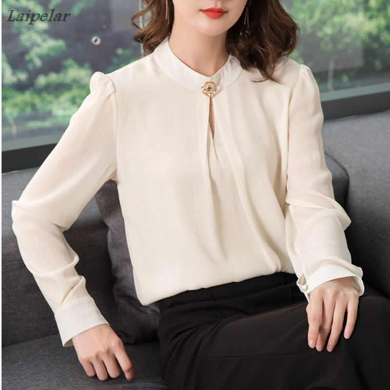 2018 Spring Autumn Chiffon Blouse Womens Tops and Blouses Long Sleeve Casual Female O Neck Work Wear Solid Color Office Shirts in Blouses amp Shirts from Women 39 s Clothing