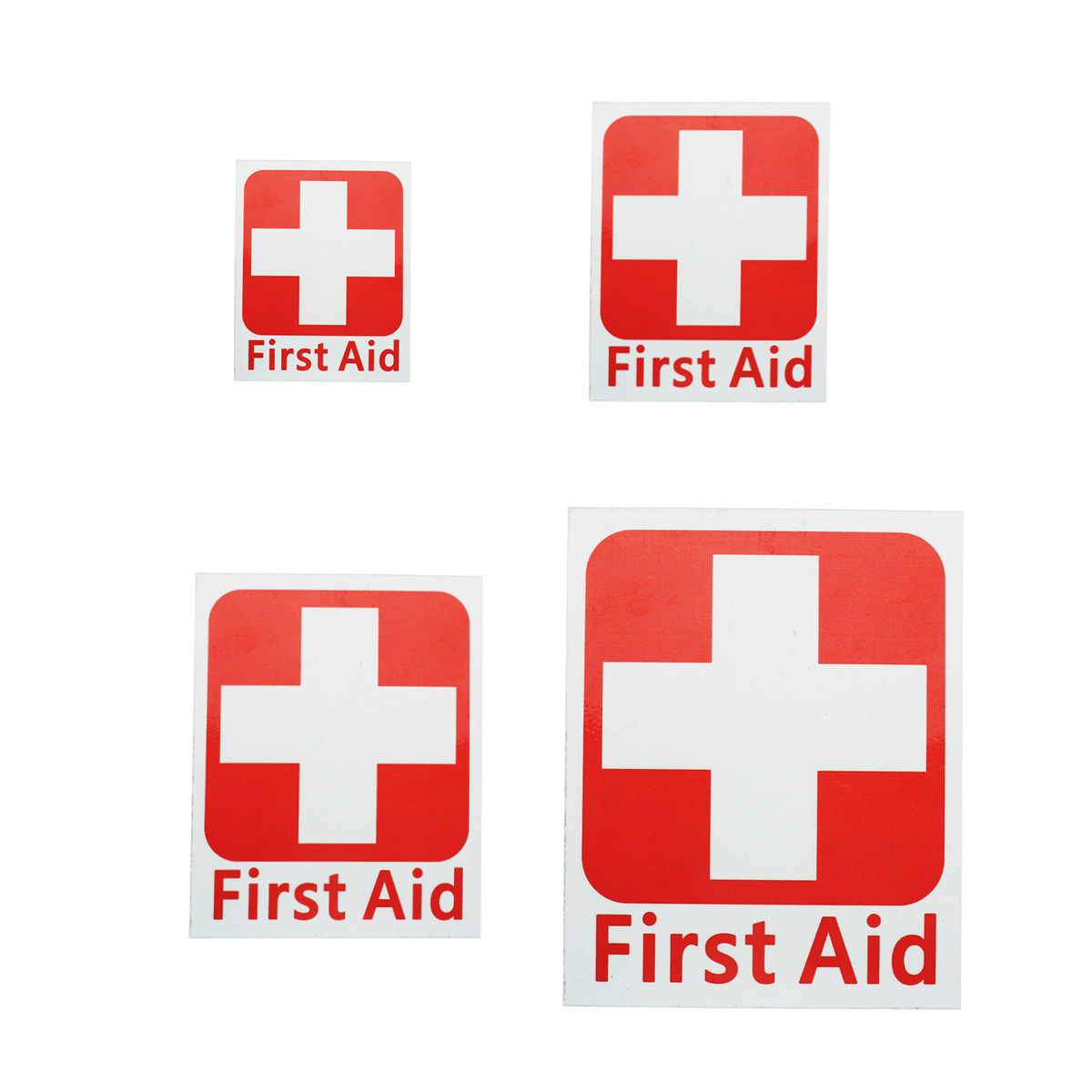 NEW 4 Size FIRST AID Vinyl Sticker Label Waterproof Signs Red Cross Health Safety Emergency Kits Warning