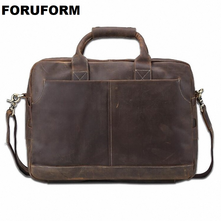 2018 Fashion Genuine Leather Men Briefcase Cowhide Men's Messenger Bags 15.6 Laptop Business Bag Luxury Lawyer Handbags LI-1832 fred perry fred perry m8205 420