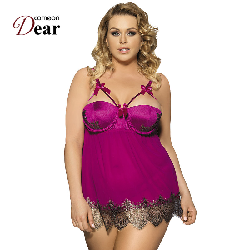 Comeondear Woman Night Dress <font><b>Sexy</b></font> Half Cup <font><b>Camison</b></font> <font><b>Sexy</b></font> <font><b>Mujer</b></font> Plus Size <font><b>Sexy</b></font> Night Lingerie Newly Nuisette Femme De Nuit RJ7964 image