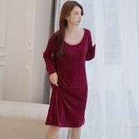 Elegant Knitted Sweater Nightgowns for Women 2018 New Winter Warm Long Sleeve Night Dress Sleepwear Femme Sexy Nighty Nightdress