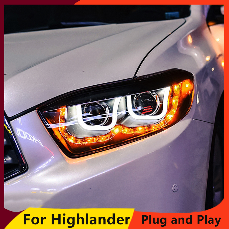 KOWELL Car Styling for Toyota Highlander Headlights 2009 2010 2011 New Kluger LED Headlight drl Lens