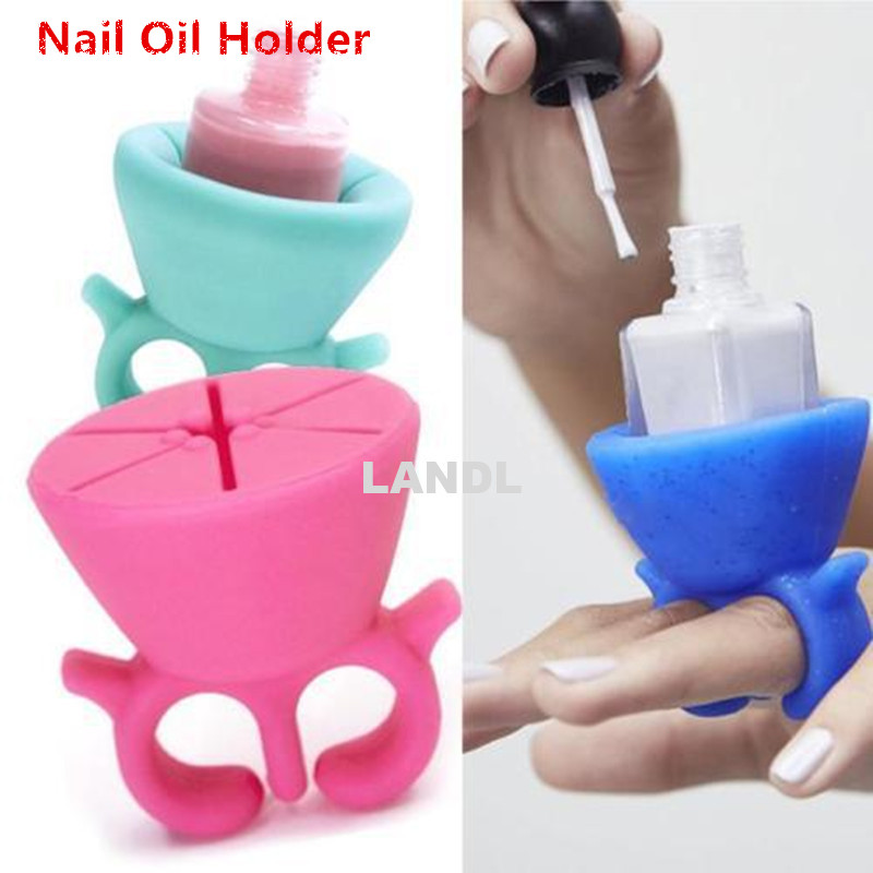 Nail Oil Bottle Holder Supporter Wear on Fingers Easily to Stand for Nail Oil Avoid to Spill Oil Gel Polish Nail Art Anywhere