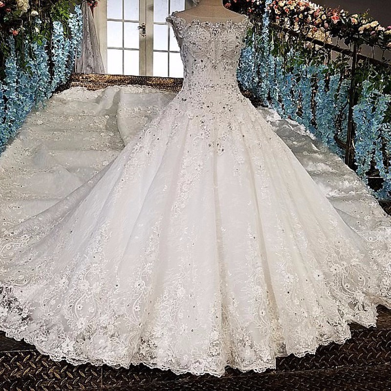 Sexy Off Shoulder White Bridal Gowns Luxury Diamond Sequins Sleeveless Wedding Dresses 2018 Dress Real Picture