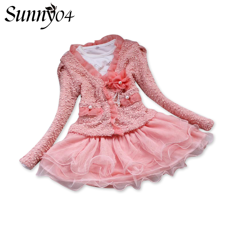 Fashion Girls 2 Pieces Set 2017 Baby Kids Winter Dress Clothes Long Sleeve Overcoat + Tutu Lace Dresses Pink White Girl Clothing tops dress girls dresses girl clothes autumn style fashion cowboy vest 2017 new 2 pieces set