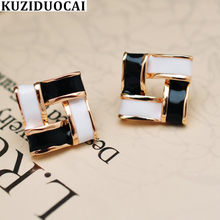 Kuziduocai New Fashion Jewelry Metallic Paint Square Candy Colors Interweave Stud Earrings For Women Statement Brincos Gift E611(China)