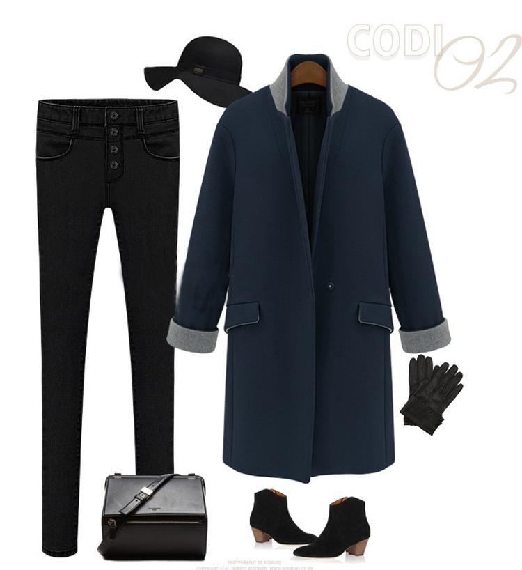 новое постулат мода осень зима женская свободного покроя топы верхняя одежда negro двойной Carmen RUS Chest пальто