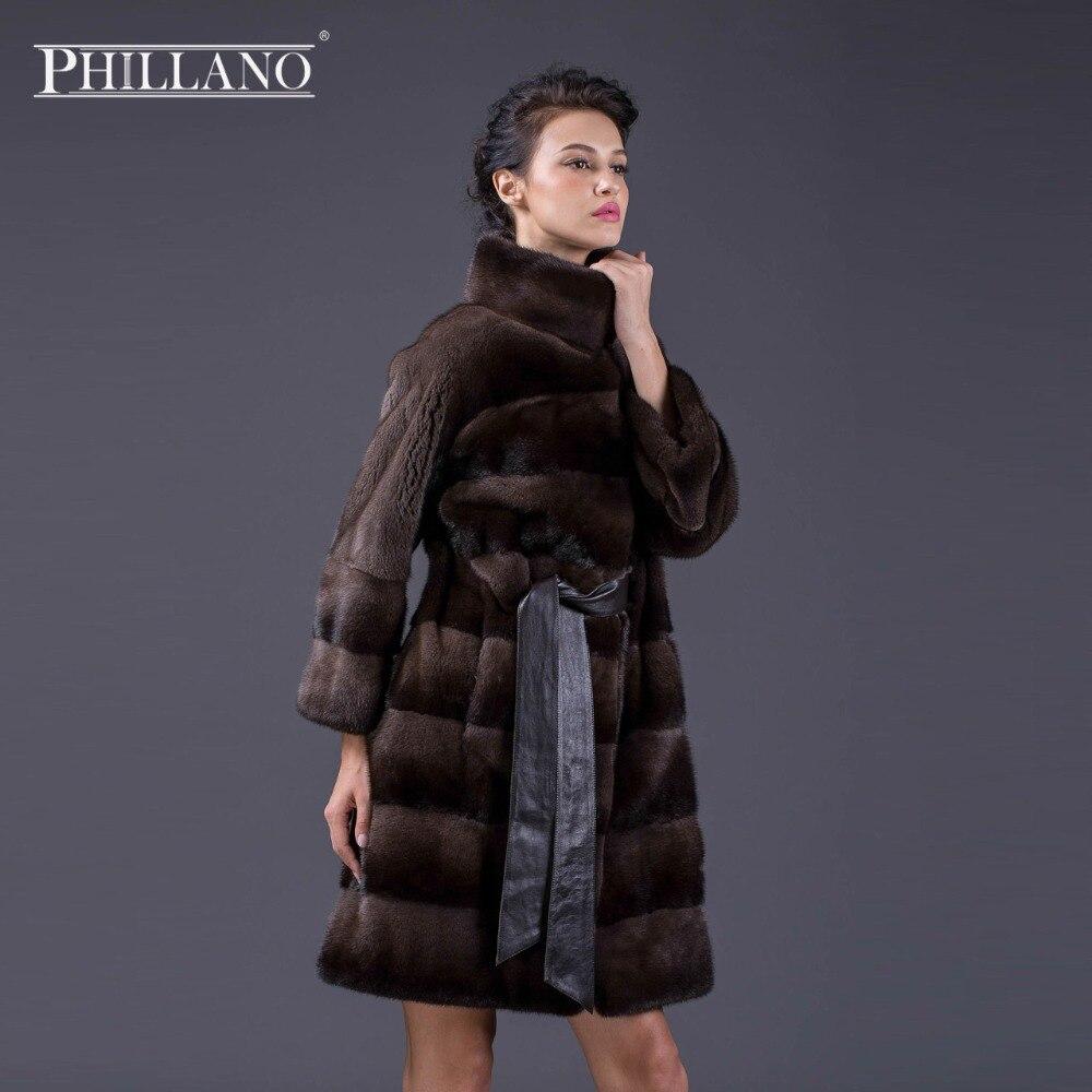 Phillano 2017 New Premium Winter Coat Women Real Mink Fur Coat Plus Size Warm Thick Fur
