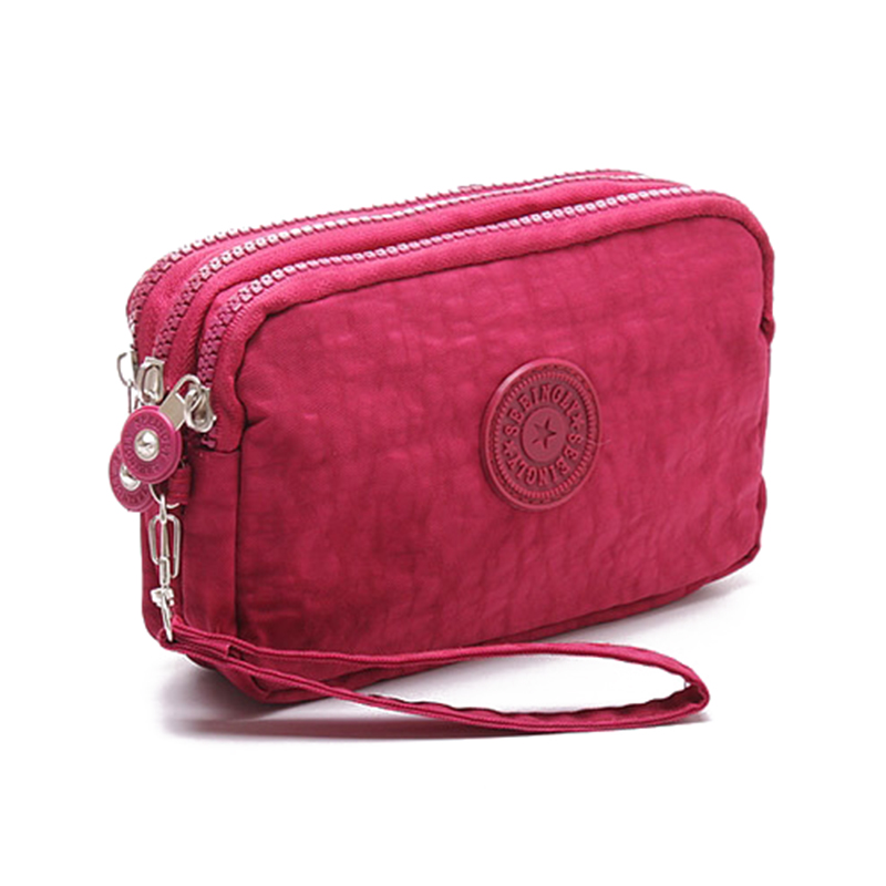 Women Small Wallet Washer Wrinkle Fabric Phone Purse Three Zippers Portable Make Up bag Rose Red