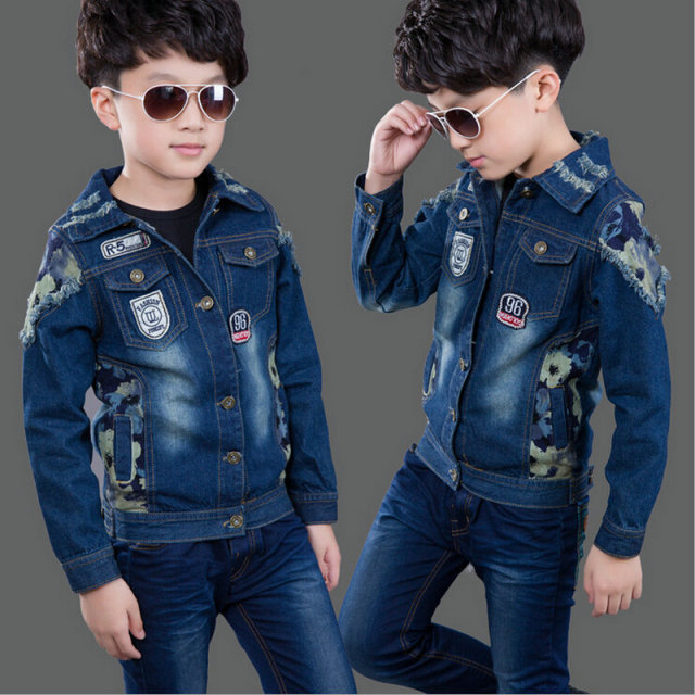 121f4889e81 Kid Denim Jean Jacket Blue Jean Outerwear Coats Boys Children Long Sleeve  Fashion Coat Kids Denim Jacket Boys 4-12T