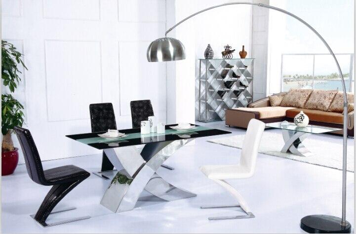 moderna mesa de comedor conjunto mesa de comedor de acero inoxidable con vidrio templado de