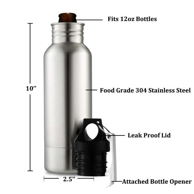 BIUBIUTUA 304 Stainless Steel Beer Insulator Cup Cold Keeper Holder with Metal Bottle Opener Cold Beer Holder Bottle 5