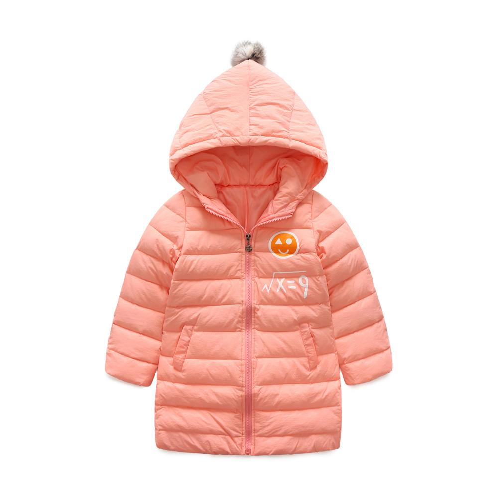 Winter new boy and girl solid color down jacket in the child big child long section zipper hooded white duck down jacket