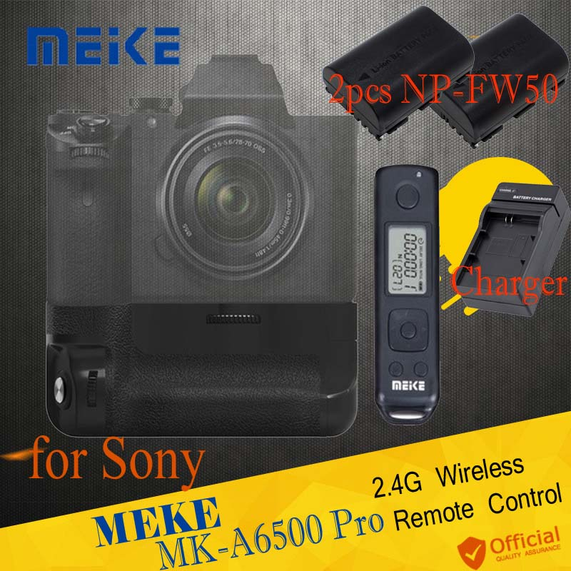 Meike MK-A6500 pro Battery Grip Holder Built-in 2.4G Wireless Remote Control Shutter for Sony A6500 NP-FW50 batteries Camera meike mk dr750 built in 2 4g wireless control battery grip for nikon d750 as mb d16 wireless remote